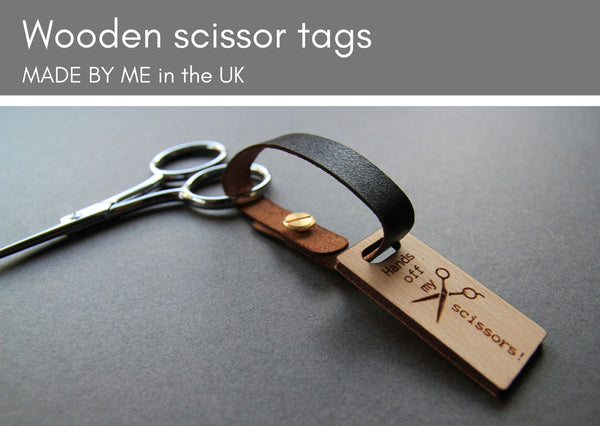Wooden scissors tags