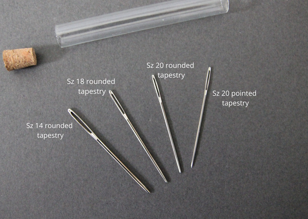 Metal needle assortment - set of four in glass tube