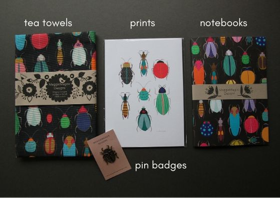 Pin badges, notebooks, prints and tea towels by MaggieMagoo Designs - Provenance Craft Co