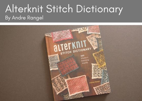 The book Alterknit by Andrea Rangel lies on a grey background.  The book cover shows a series of colourwork swatchs displayed on a wooden table top.