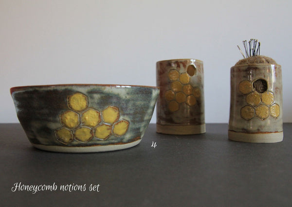 Honeycomb dishes, pots & pincushions - MADE BY ME Ceramic dishes - Provenance Craft Co