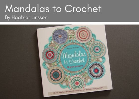 Manadalas to crochet book on grey background.  The cover has a circle of crocheted mandalas, showcasing lots of the different designs.  The mandalas were designed by Haafner Linssen.