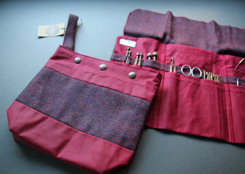 Tweed and waxed cotton project bags and notion holders - made in the UK