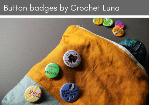 Button badges by Crochet Luna - Provenance Craft Co