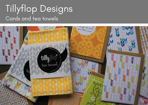 Tillyflop cards and tea towels