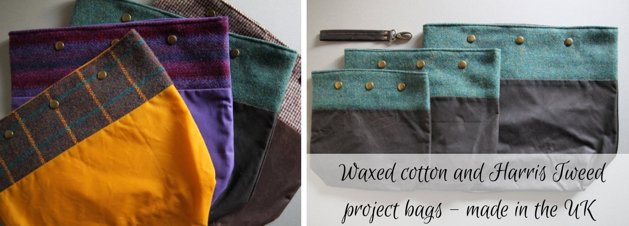 Tweed and wexed cotton bags are lying flat, showing of the three different sizes.  Soft teals and browns and a bright mustard.