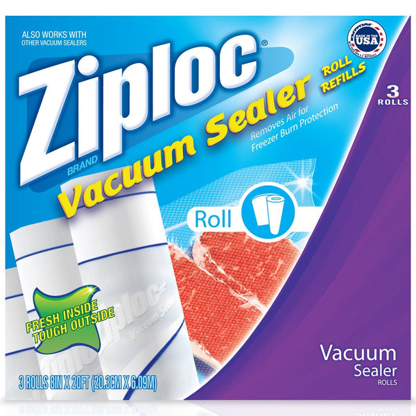 "Ziploc® 8"" x 20' Roll, Vacuum Sealer Roll Refill, 3-Pack"