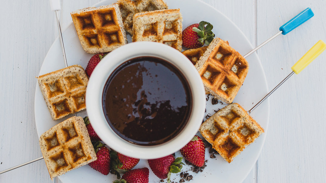 KNOW Better Waffles with allulose chocolate fondue