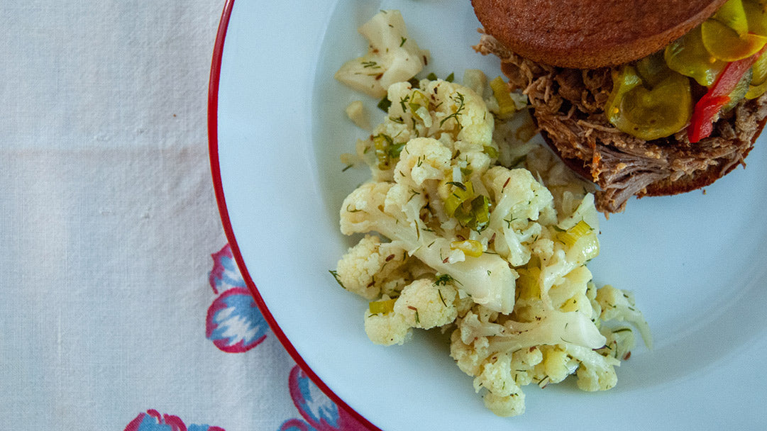 "German ""Potato"" Salad with Cauliflower and Barbecue Sandwich"