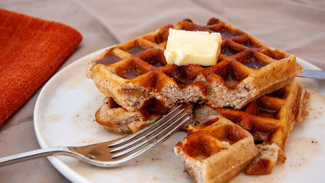 Pecan Pie Waffles with Spiced Syrup