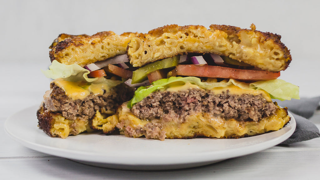Mac and Cheese Burger with KNOW Better Elbows