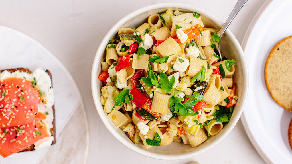 Roasted Vegetable Pasta Salad with KNOW Better Rigatoni