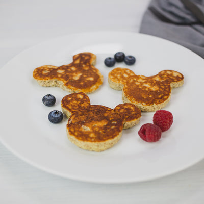 mickey mouse pancakes made with KNOW Better mix
