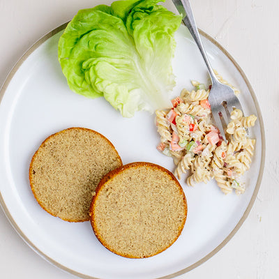 Sliced KNOW Better Bun with Pasta Salad