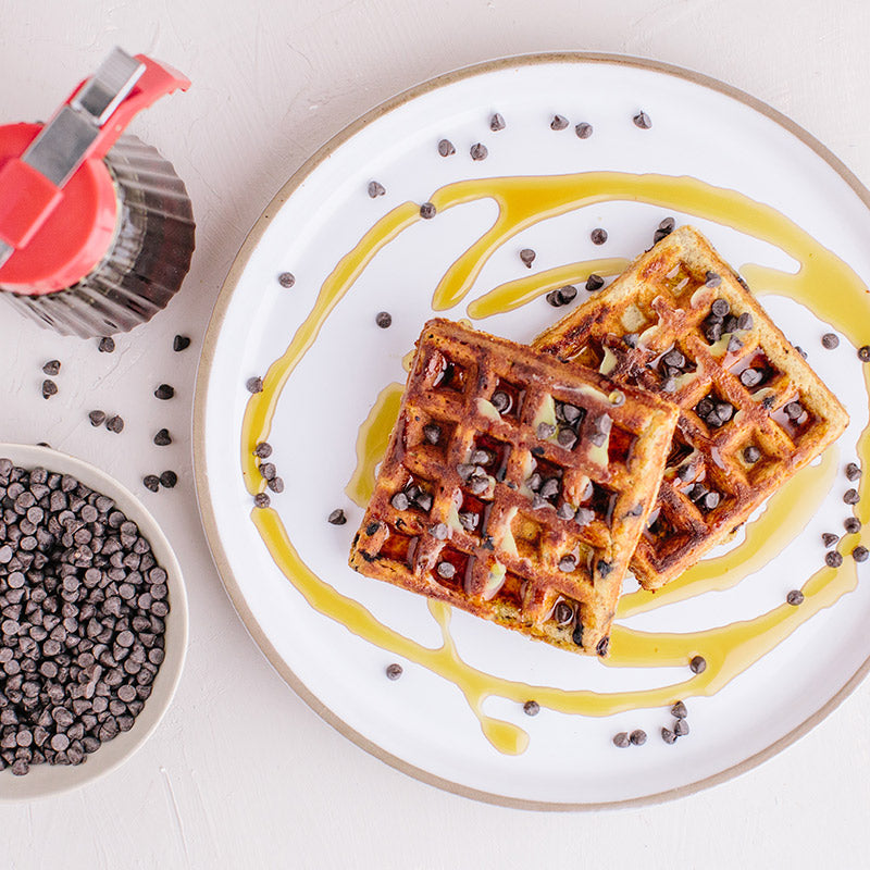 KNOW Better Chocolate Chip Waffles with Syrup and Chocolate Chips