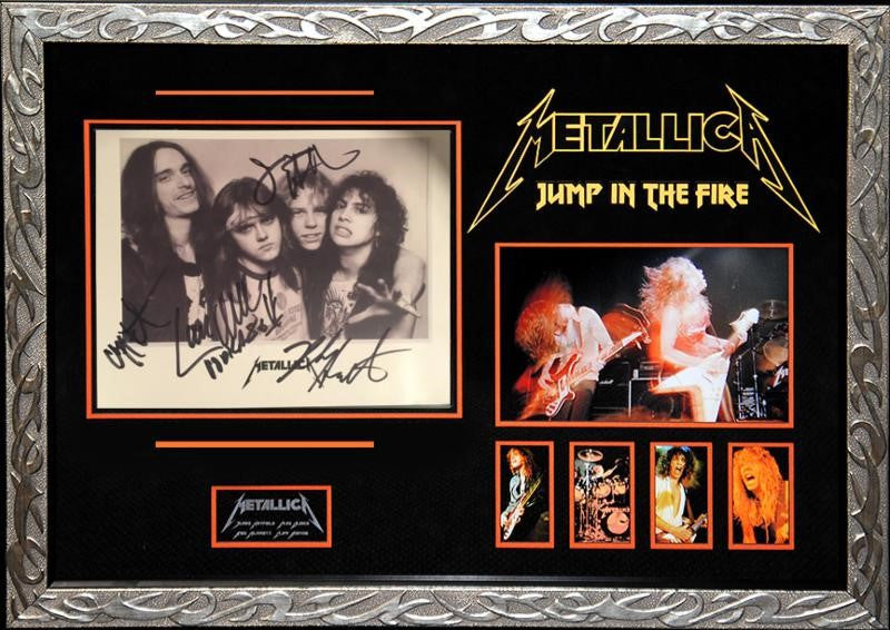 94fc6bcb Metallica - Jump in the Fire Signed EARLY b/w Publicity 8x10 Photo ...