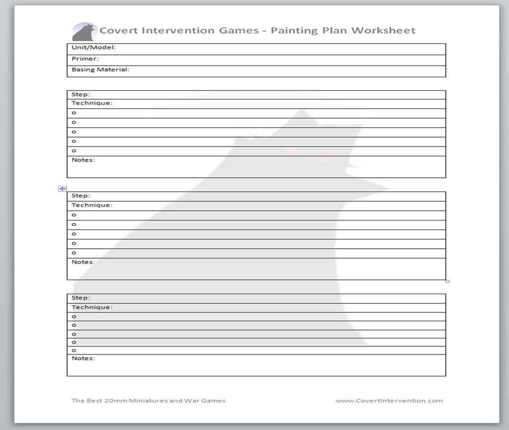 Paint Plan Worksheet