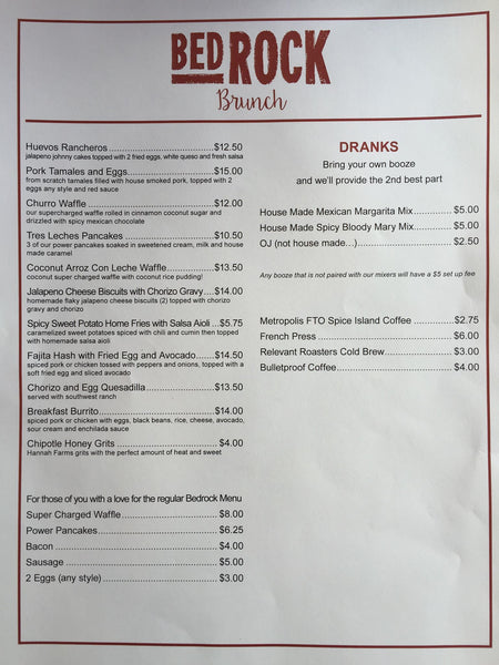 Bedrock Market Sunday Brunch Menu