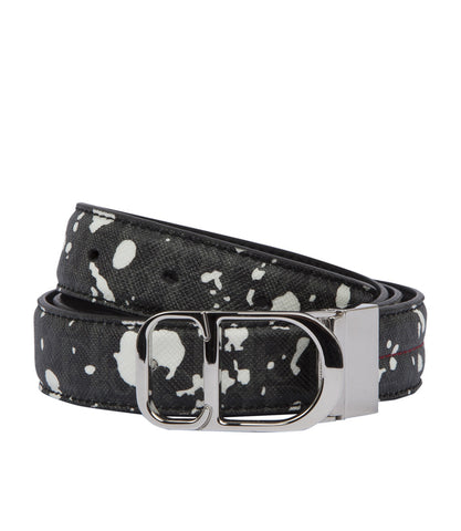Dior Homme Speckle Belt with Red Stitch and Logo Buckle