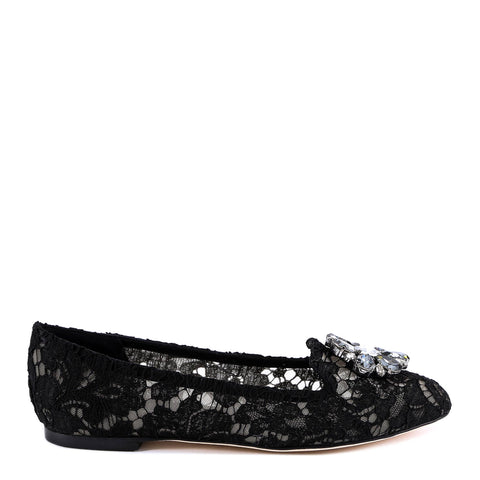 Dolce & Gabbana Vally Embellished Lace Ballerinas