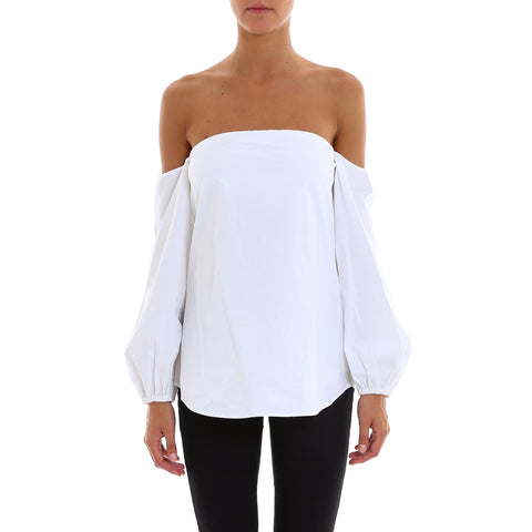 Theory Off Shoulder Gathered Sleeve Blouse