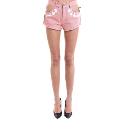 GCDS Swan Embroidered Denim Shorts