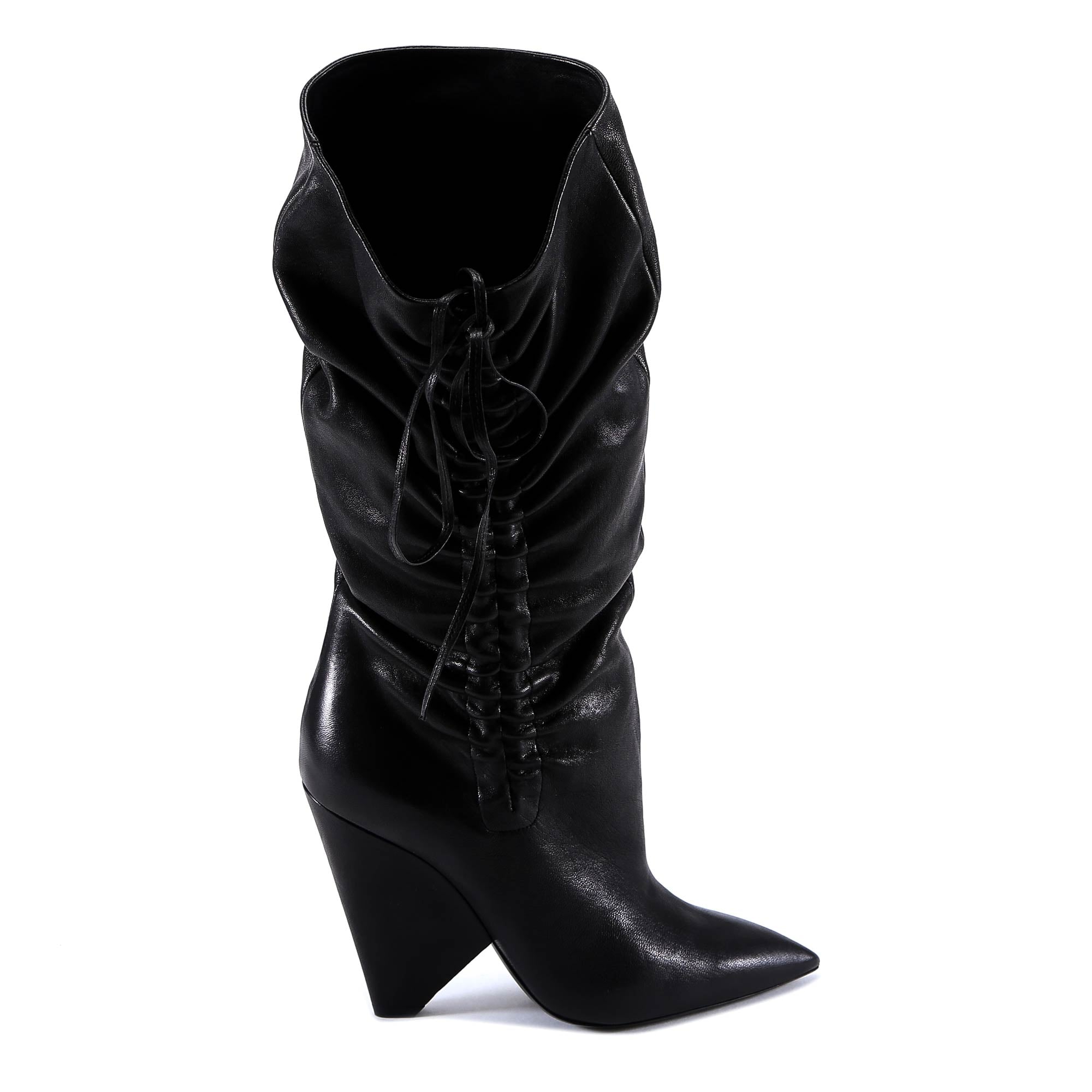 SAINT LAURENT POINTED TOE RUCHED BOOTS