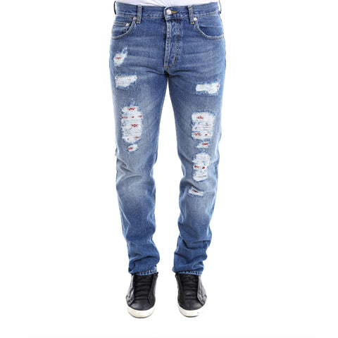 Alexander McQueen Distressed Slim Fit Jeans