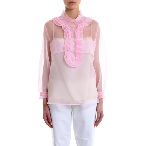 Prada Sheer Ruffled Blouse