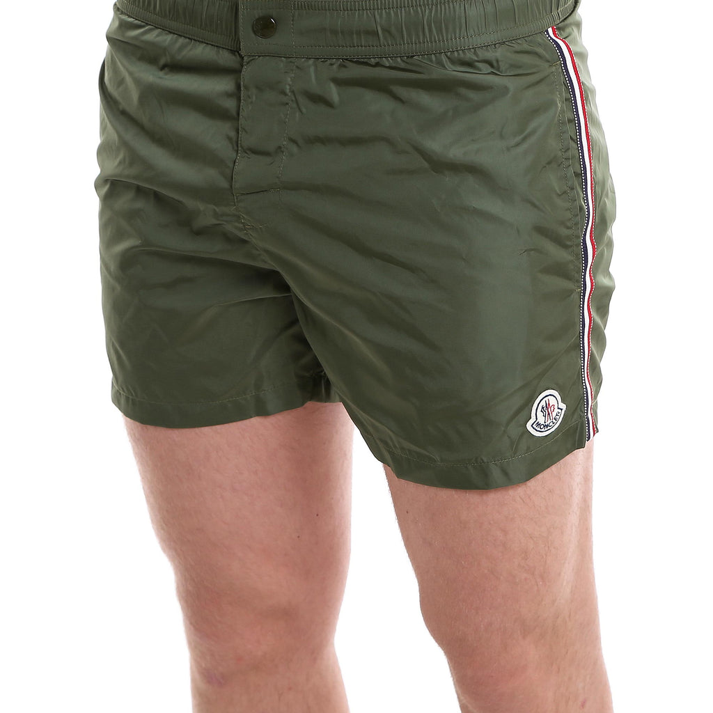 khaki green moncler swim shorts