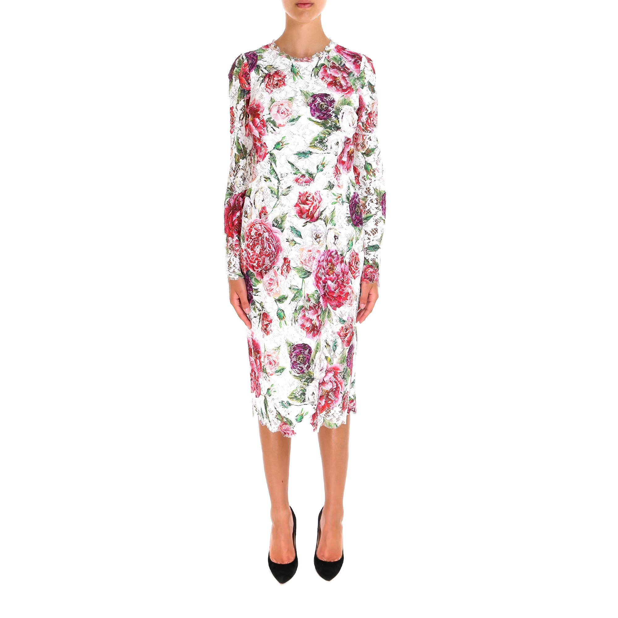 DOLCE & GABBANA LACE FLORAL MIDI DRESS