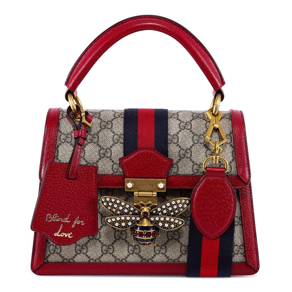 1fbe40e9f765 Gucci Queen Margaret Crystal Embellished Bee Clasp Tote Bag – Cettire