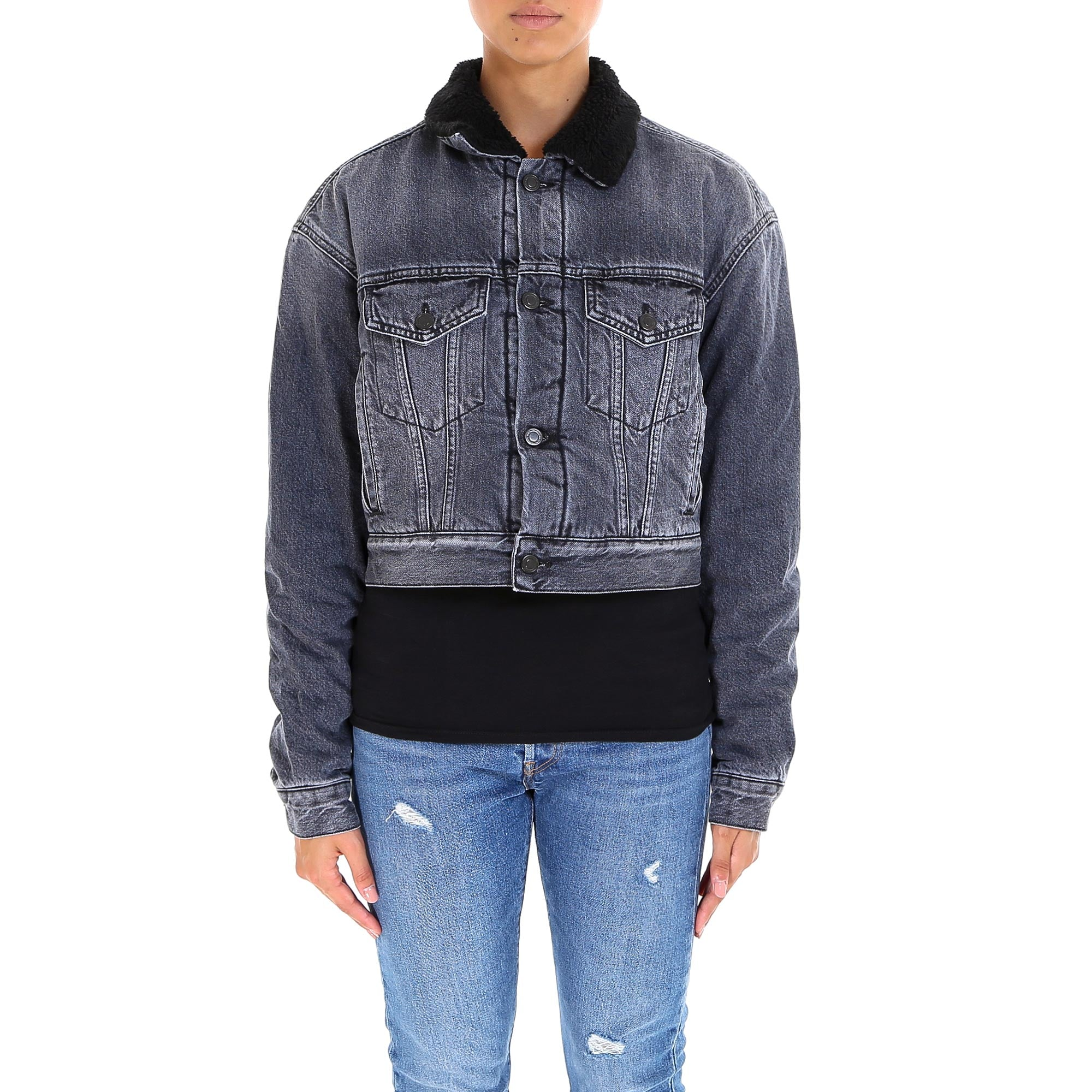 Marcelo Burlon County Of Milan MARCELO BURLON COUNTY OF MILAN EMBROIDERED DESIGN FUR DENIM JACKET