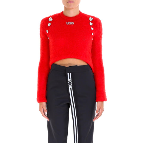 GCDS Cropped Embellished Hearts Sweater