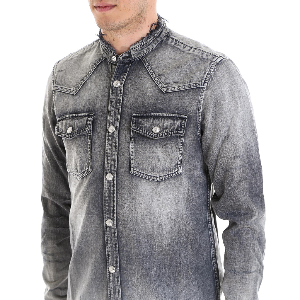 cb890843 Balmain Distressed Denim Shirt – Cettire