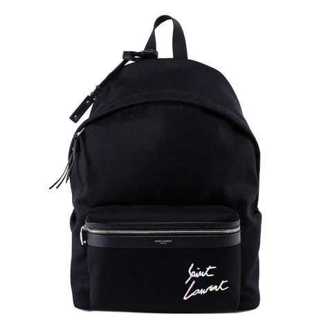 Saint Laurent City Logo Embroidered Backpack