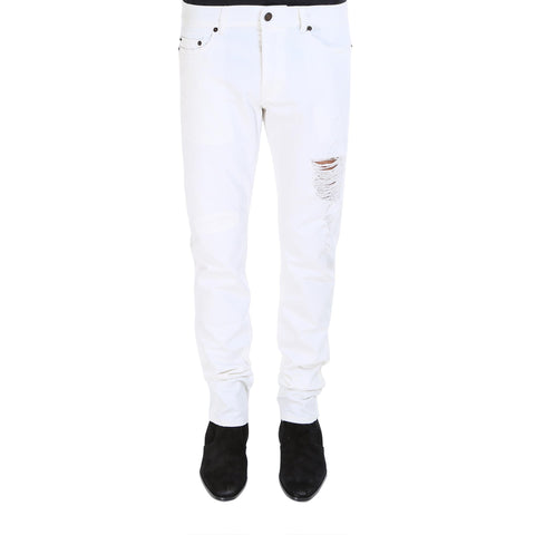 Saint Laurent Straight Legged Ripped Jeans