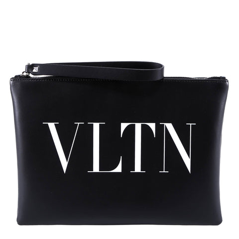 Valentino Garavani VLTN Leather Clutch Bag