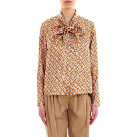 Burberry Tie-Neck Printed Blouse