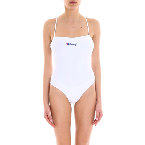 Champion Back Crossover Logo Swimsuit