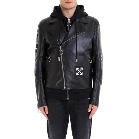 Off-White Hooded Logo Leather Jacket