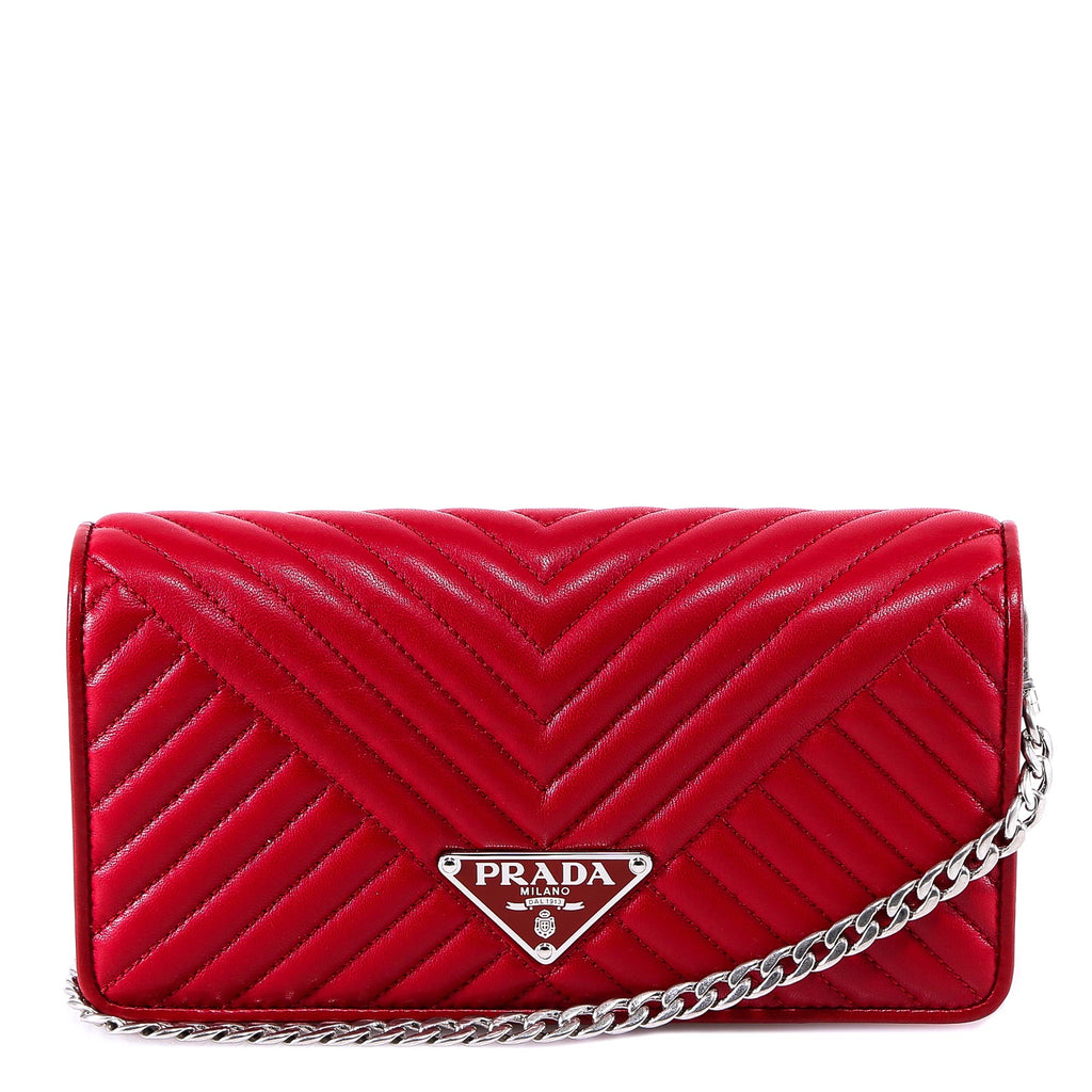 Prada Logo Chain Strap Clutch Bag