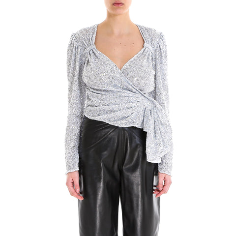 Attico Sequinned Wrap Top