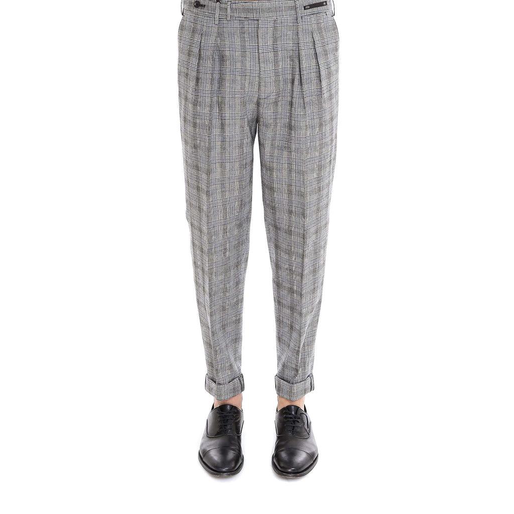 Pt01 Cuffed Check Trousers