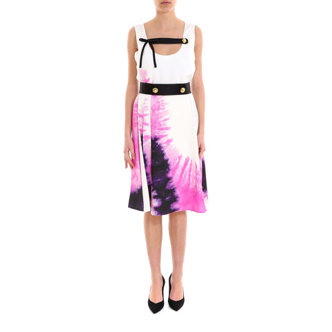 Prada Tie-Dye Embellished Trim Dress