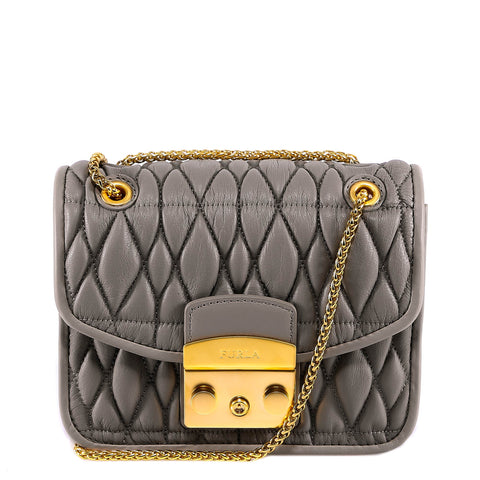 Furla Logo Metropolis Quilted Shoulder Bag