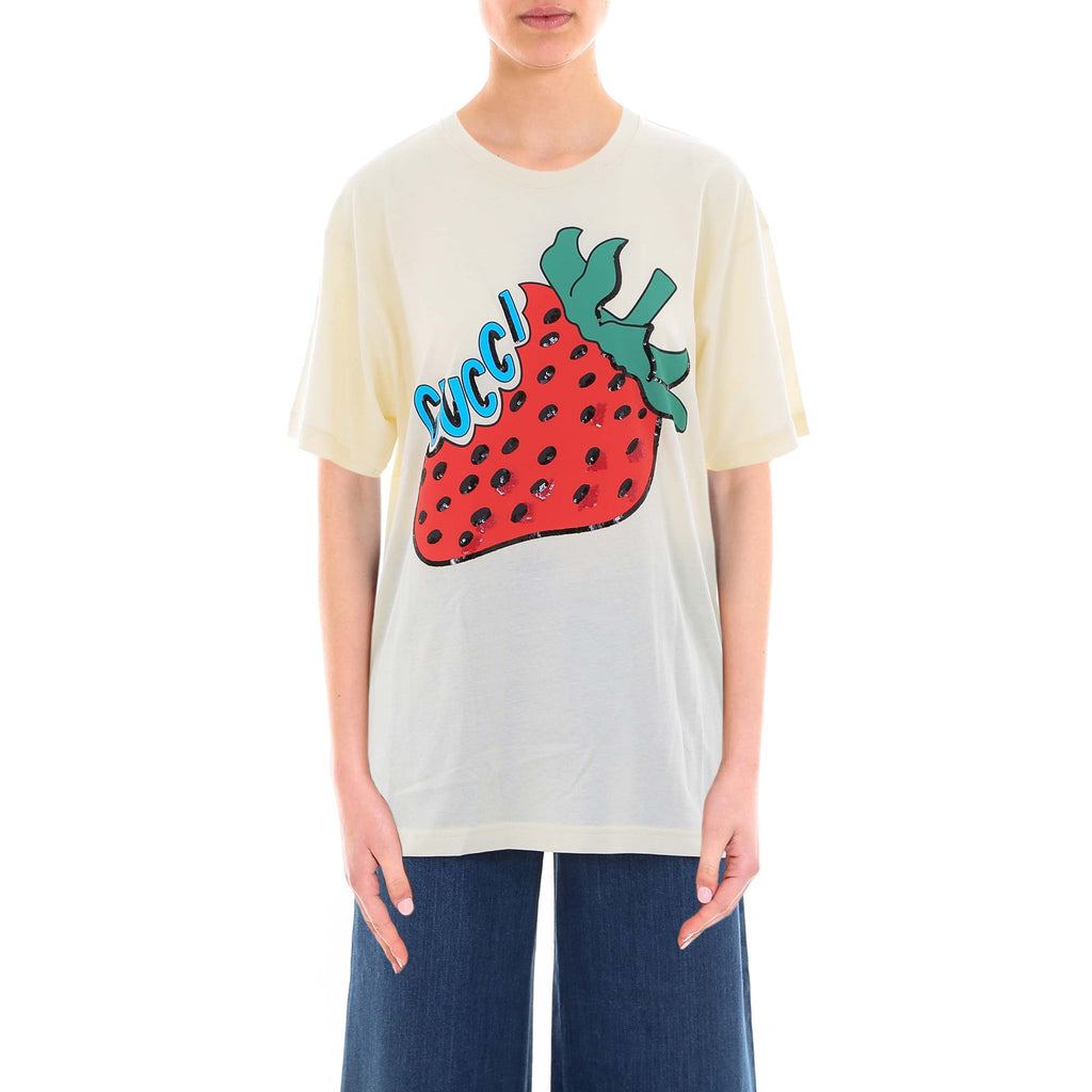 Gucci Strawberry Logo Print T-Shirt