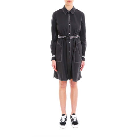 Karl Lagerfeld Belted Logo Shirt Dress
