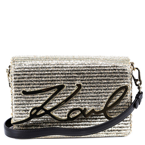 Karl Lagerfeld Signature Raffia Shoulder Bag