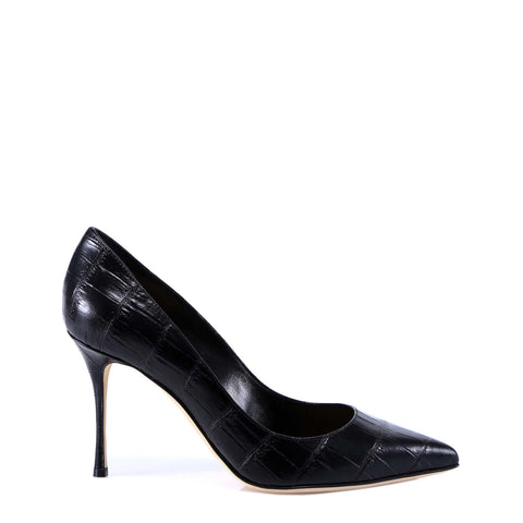 Sergio Rossi Croc Effect Pointed Toe Pumps